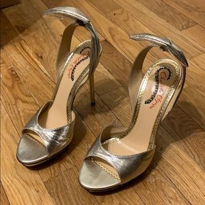 Charlotte Olympia Silver Lame Wallace Sandals READ